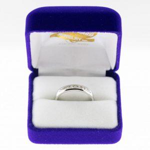 Athena ring platinum diamond front view