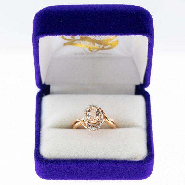 Athena ring rose gold morganite front view