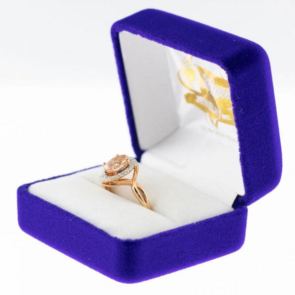 Athena ring rose gold morganite side view