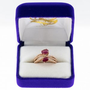 Athena ring rose gold ruby front view