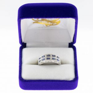 Athena ring white gold sapphire diamond front view