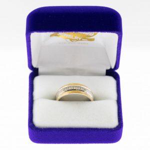 Athena ring white gold yellow gold diamond front view