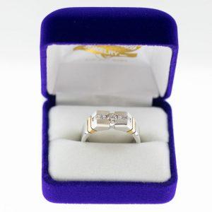 Athena ring white gold diamond yellow gold accentsfront view