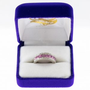 Athena ring white gold sapphire front view