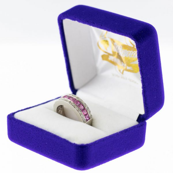 Athena ring white gold sapphire side view