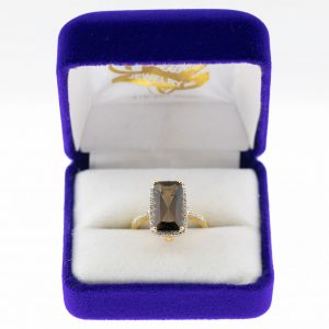 Athena ring yellow gold topaz front view