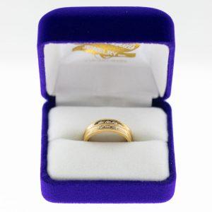 Athena ring yellow gold diamond front view